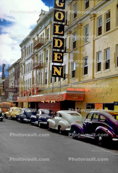 Hotel Golden, Gay Nineties Show, building, cars, 1940's