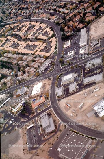 S-Curve, Intersection, Roads, streets, urban texture, homes, houses, buildings, sprawl
