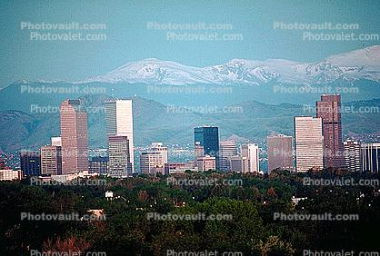 buildings, skyline, cityscape, skyscrapers, Rockies, Rocky Mountains