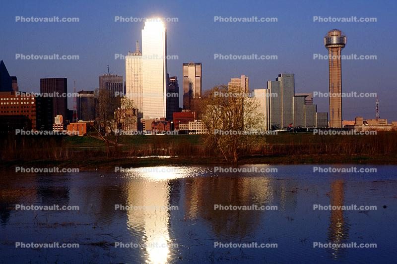 Dallas Skyline, buildings, reflection