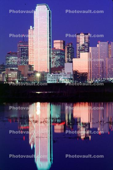 Dallas, Twilight, Dusk, Dawn, Dallas Skyline, buildings, reflection