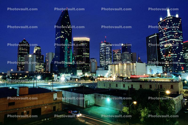 Dallas Skyline, downtown, buildings, Twilight, Dusk, Dawn