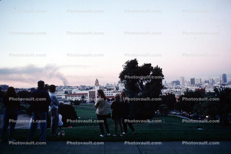 Dolores Park, Marina fire in the background, Loma Prieta Earthquake (1989), 1980s