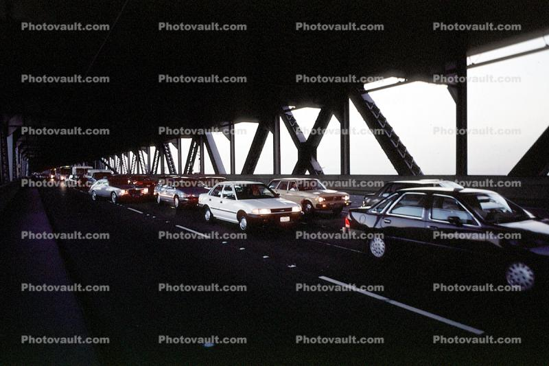 Cars leaving the bridge going the wrong direction, Loma Prieta Earthquake (1989), 1980s