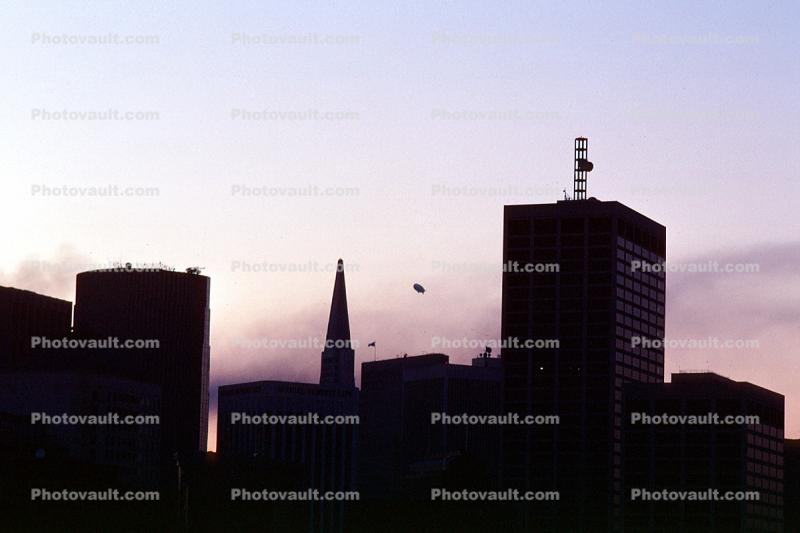 the Goodyear Blimp over the Marina, Embarcadero, Loma Prieta Earthquake (1989), 1980s