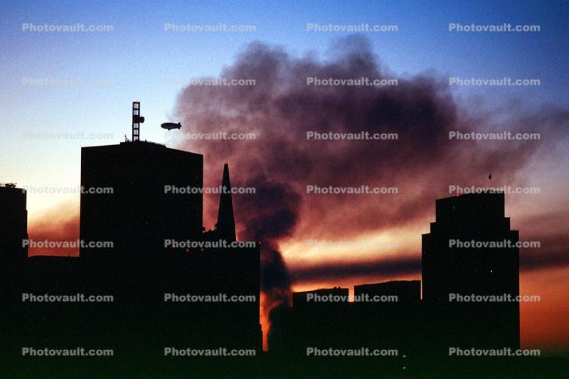 Dark Downtown SF with smoke from the Marina fire, Loma Prieta Earthquake (1989), 1980s