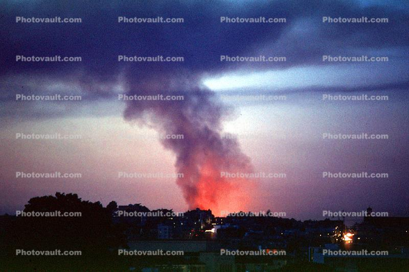 glowing smoke and fire from the Marina fire, Loma Prieta Earthquake (1989), 1980s
