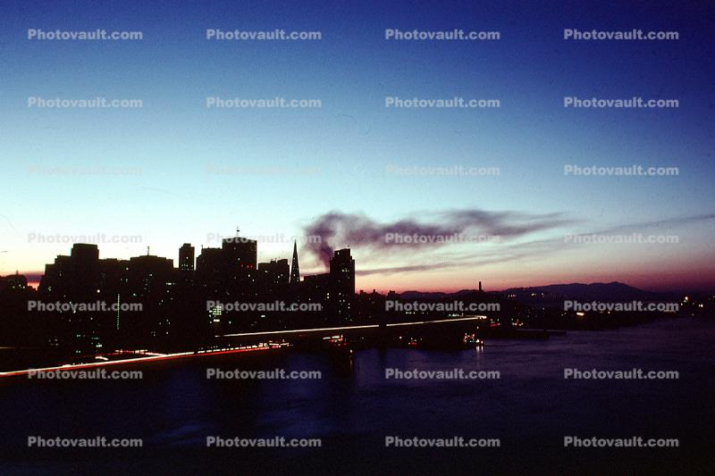 the Embarcadero with smoke from the Marina fire, Loma Prieta Earthquake (1989), 1980s