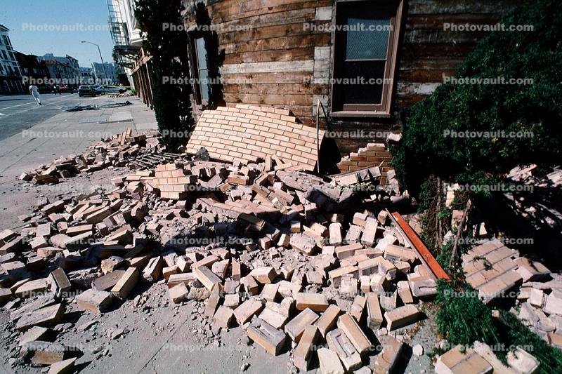 Fallen Bricks, Marina district, Loma Prieta Earthquake (1989), 1980s