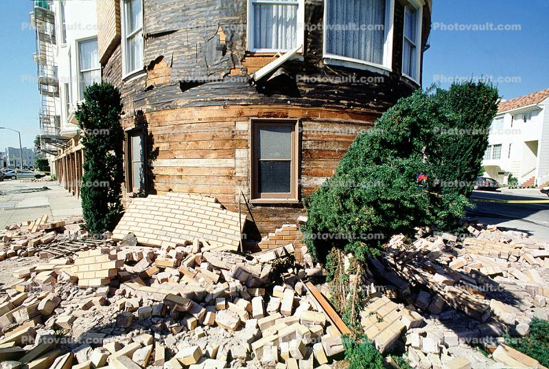 Fallen Bricks, Marina district, Loma Prieta Earthquake, (1989), 1980s