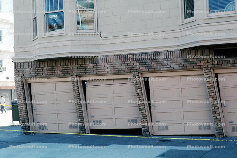 Garage Doors Bent, Tilted, Marina district, Loma Prieta Earthquake, (1989), 1980s