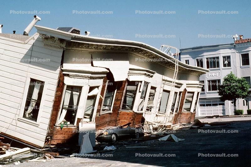 Crushed Car, Collapsed Apartment Building, Marina district, Loma Prieta Earthquake (1989), 1980's