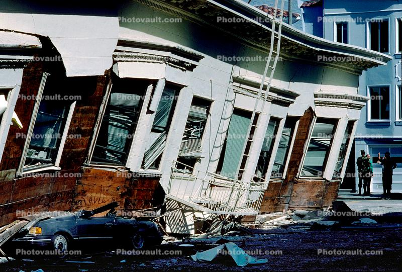 Crushed Car, Collapsed Apartment Building, Marina district, Loma Prieta Earthquake (1989), 1980s