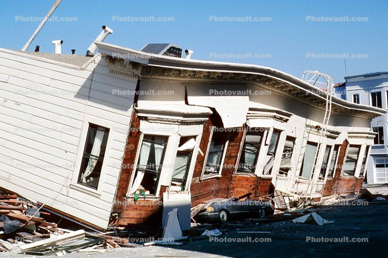 Collapsed Home, Crushed Automobile, Marina district, Loma Prieta Earthquake (1989), 1980s