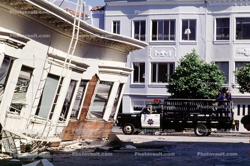 Police Truck, Collapsed Home, Marina district, Loma Prieta Earthquake (1989), 1980s