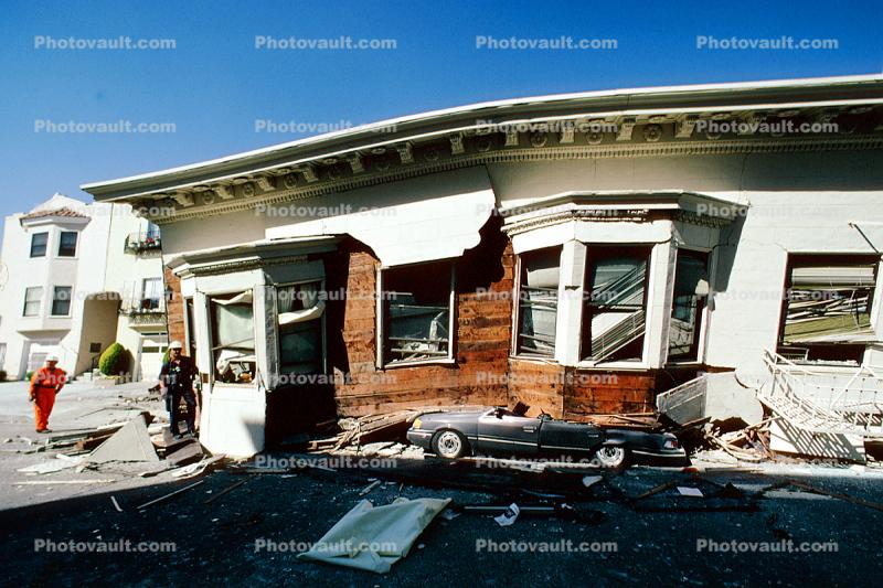 Crushed Car, Collapsed House, Marina district, Loma Prieta Earthquake (1989), 1980's