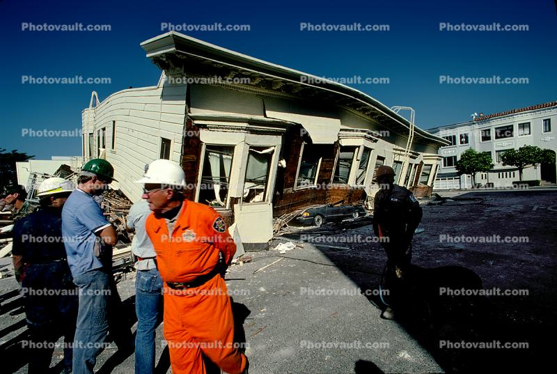 Rescuers, Crushed Car, Collapsed House, Marina district, Loma Prieta Earthquake (1989), 1980s