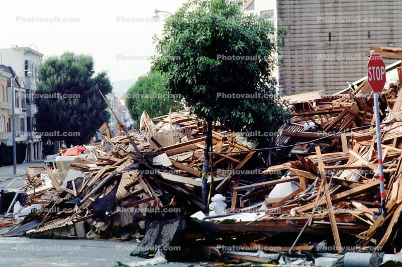Rubble, Stop Sign, Fillmore Street, Marina district, Loma Prieta Earthquake (1989), detritus, 1980s