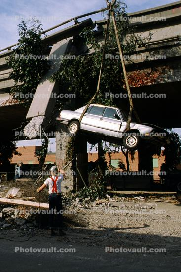 Lifting a Destroyed Car, Cypress Freeway, pancake collapse, Loma Prieta Earthquake, (1989), 1980's