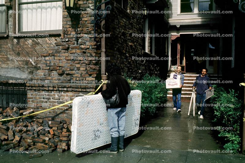 Cleaning out debris, mattress, Loma Prieta Earthquake (1989), 1980s