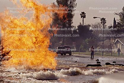 Gas Main Break, Fire, Flames, Water overflow, flooding, Northridge Earthquake Jan 1994