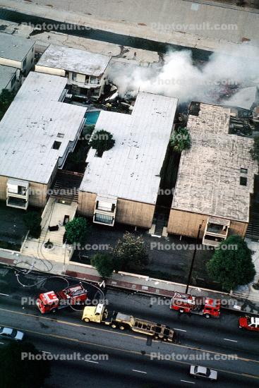 Building Fire, Northridge Earthquake Jan 1994, Building Collapse
