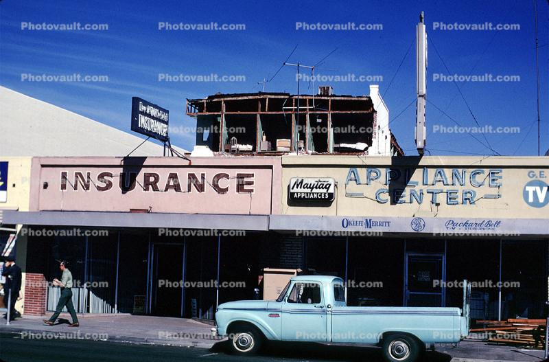Pickup Truck, stores, buildings, 1971 San Fernando Valley Earthquake