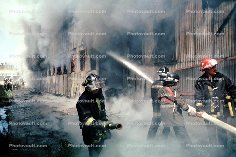 Smoke, Water, Firefighters, Firemen, Mission District, San Francisco