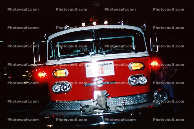 flashing lights head-on, American LaFrance truck, Fire Engine