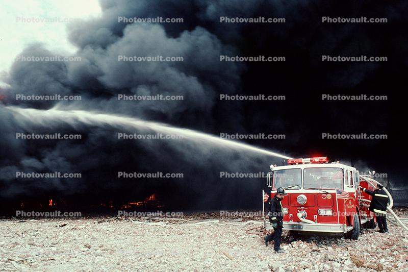 thick black smoke, water, Seagrave Truck, Fire Engine