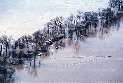 Boat Wake, Flooded Home, House, Louisville, Kentucky