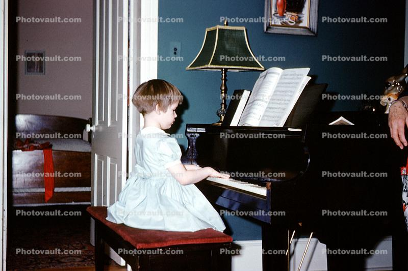 Grand Piano, girl, keys, keyboard, sheet music, 1950s
