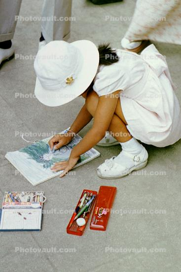 Girl, Coloring, Pencils, shoes, hat