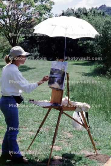 Woman Painting artwork, umbrella, outdoors, outside