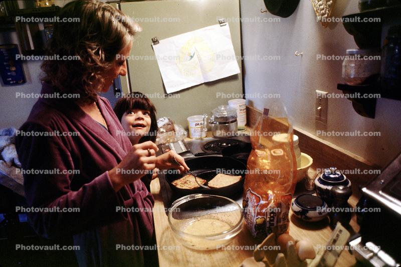 Girl, Mother, Kitchen, Cooking, Stove