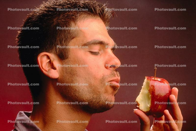 Man, Male, Eating, Apple, Tasting