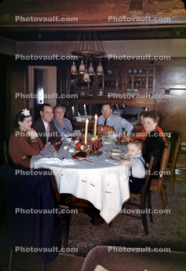 Family Dinner, Table, Formal, 1950s