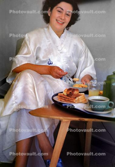 Woman, Gown, Robe, Smiles, Breakfast, Coffee, French Toast, 1950s