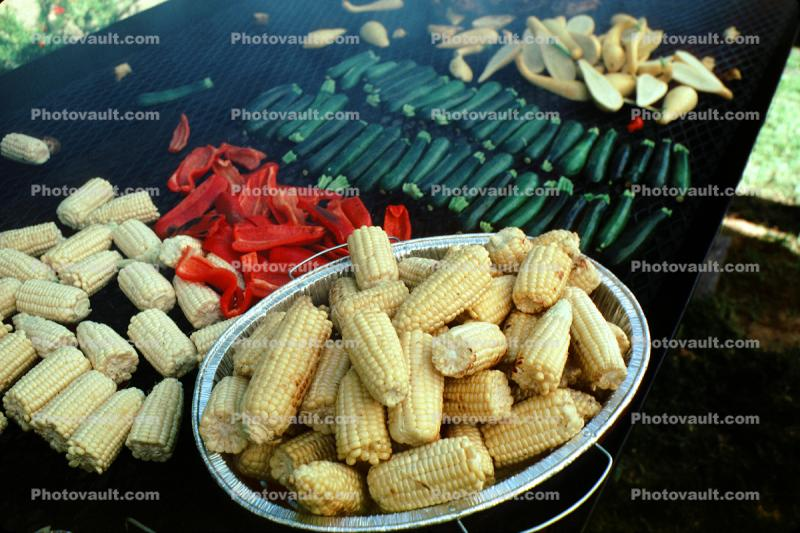 Corn, Bowl, Roasting Vegetables, BBQ, Barbecue, Chili Peppers, Zucchini, Bowl