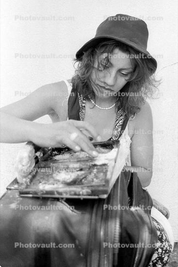 Woman Eating, fingers, hat, 1970s