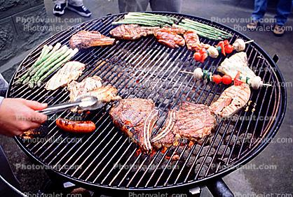 Meat, Steak, Hot Dogs, Vegetables, Shish-Ka-Bob,, Salmon, BBQ, Barbecue, Kentucky Derby Party