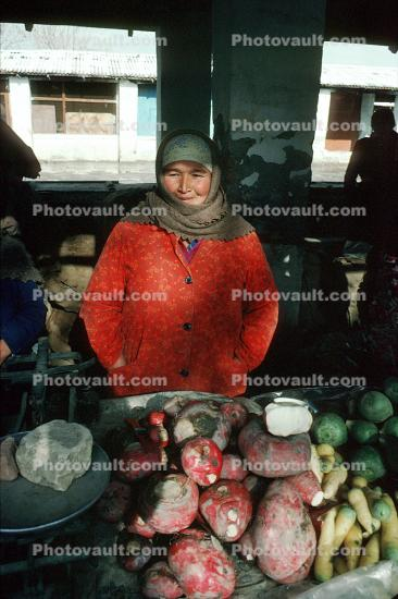 Women, Scale, Cold, Jackets, Vegetables, Samarkand, Uzbekistan
