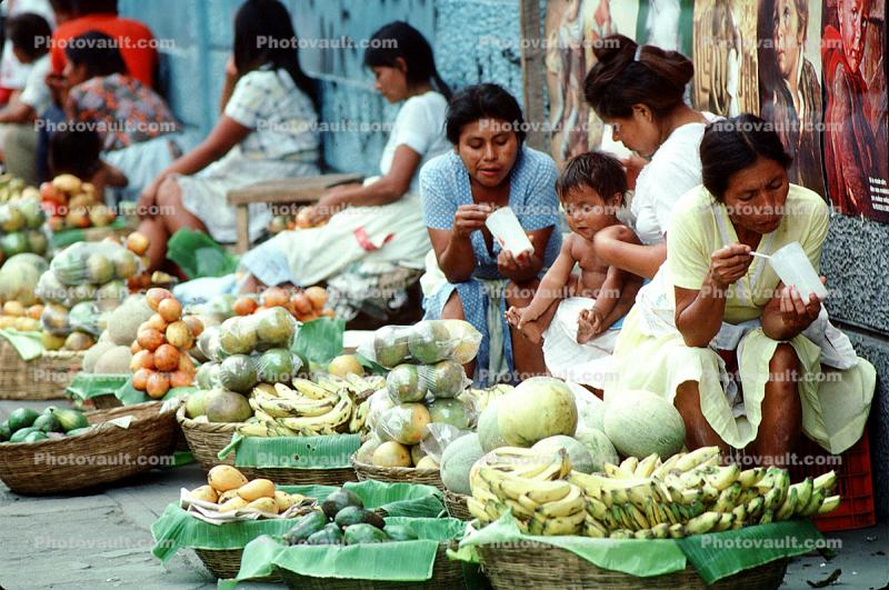 Open Air Market, Women Eating, Vegetables, Fruit