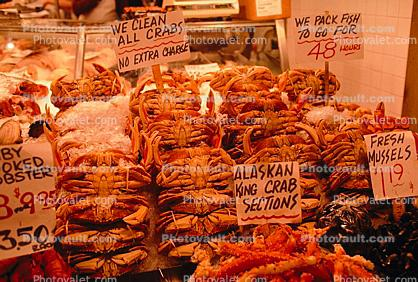 Alaskan King Crab, Farmers Market, steamed, seafood, shellfish