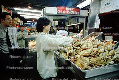 Cooked Dungeness Crabs, steamed, seafood, shellfish
