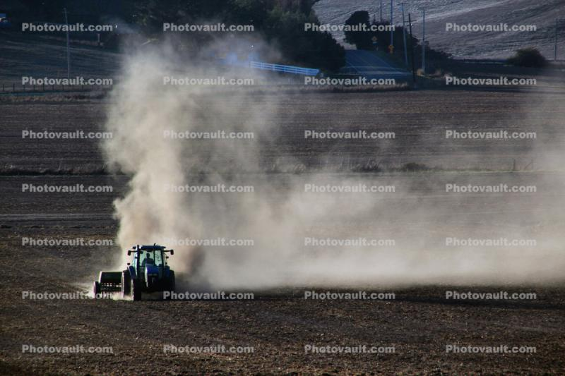 Tractor, plowing, tilling, dust, dusty