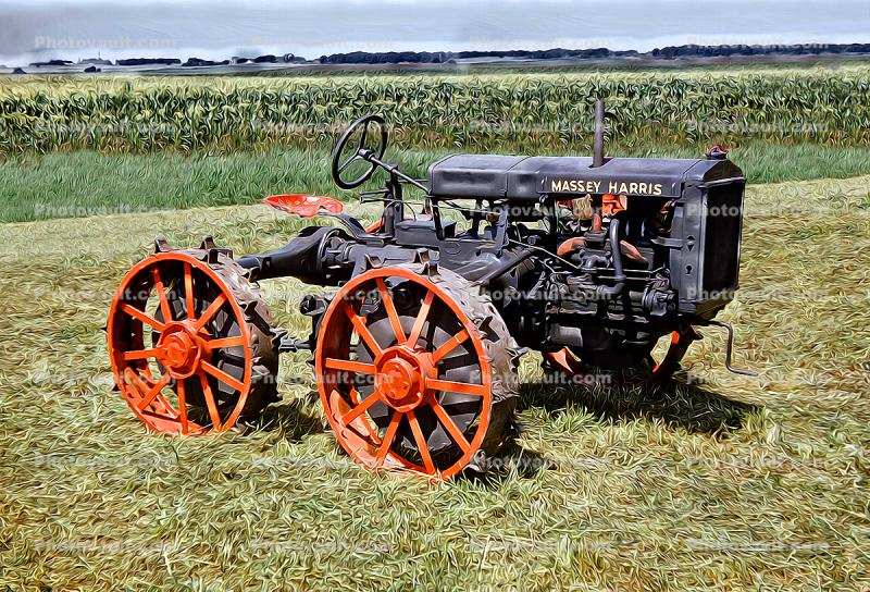 Massey Harris Tractor, Cornfield, paintography