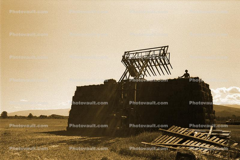 Hay Stacker, near the Teton Mountains, Snake River Ranch