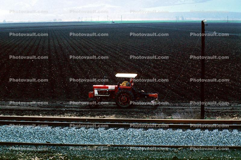 Tractor and Plow, Plowing, Farmer