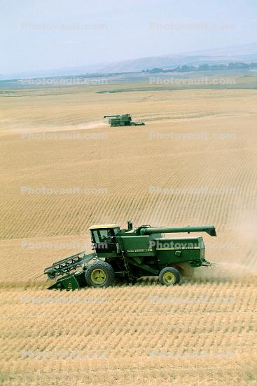 Harvesting Wheat with Mechanized Combines, John Deere Turbo 6622 Combine, farmfield, wheat field, golden amber waves of grain, swather, windrower